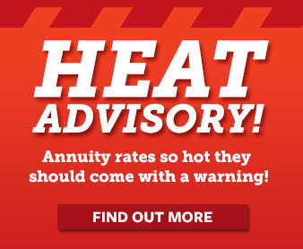 Red banner promoting hot annuity rates.