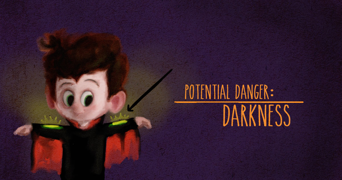 Darkness and visibility is a potential danger for child while trick-or-treating.