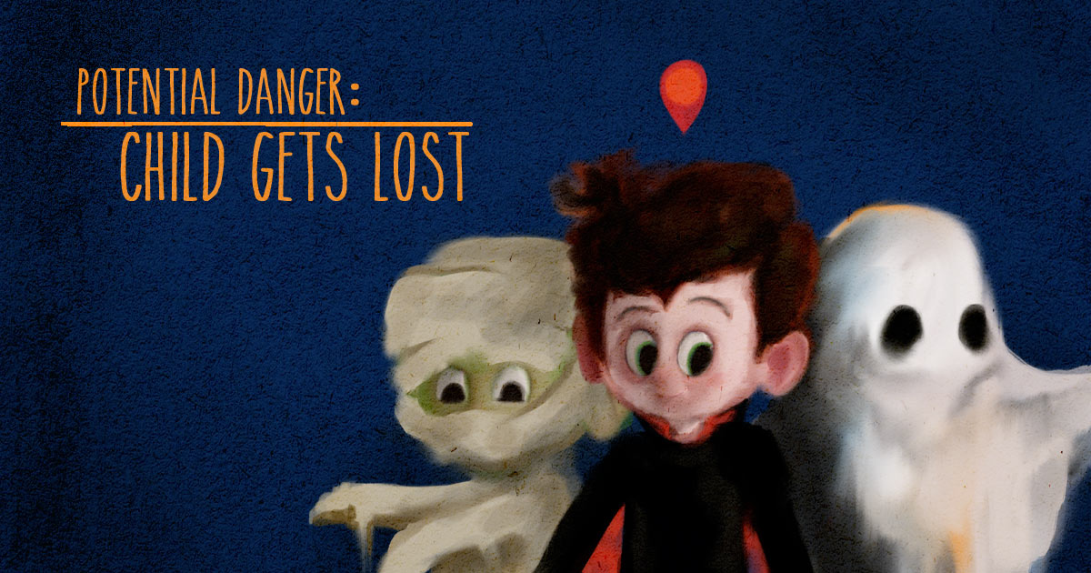 Getting lost is a potential danger for your child while trick-or-treating.