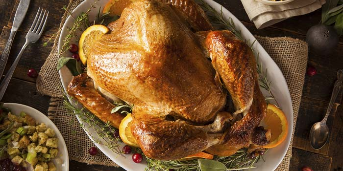 A delicious roasted turkey ready for Thanksgiving dinner.