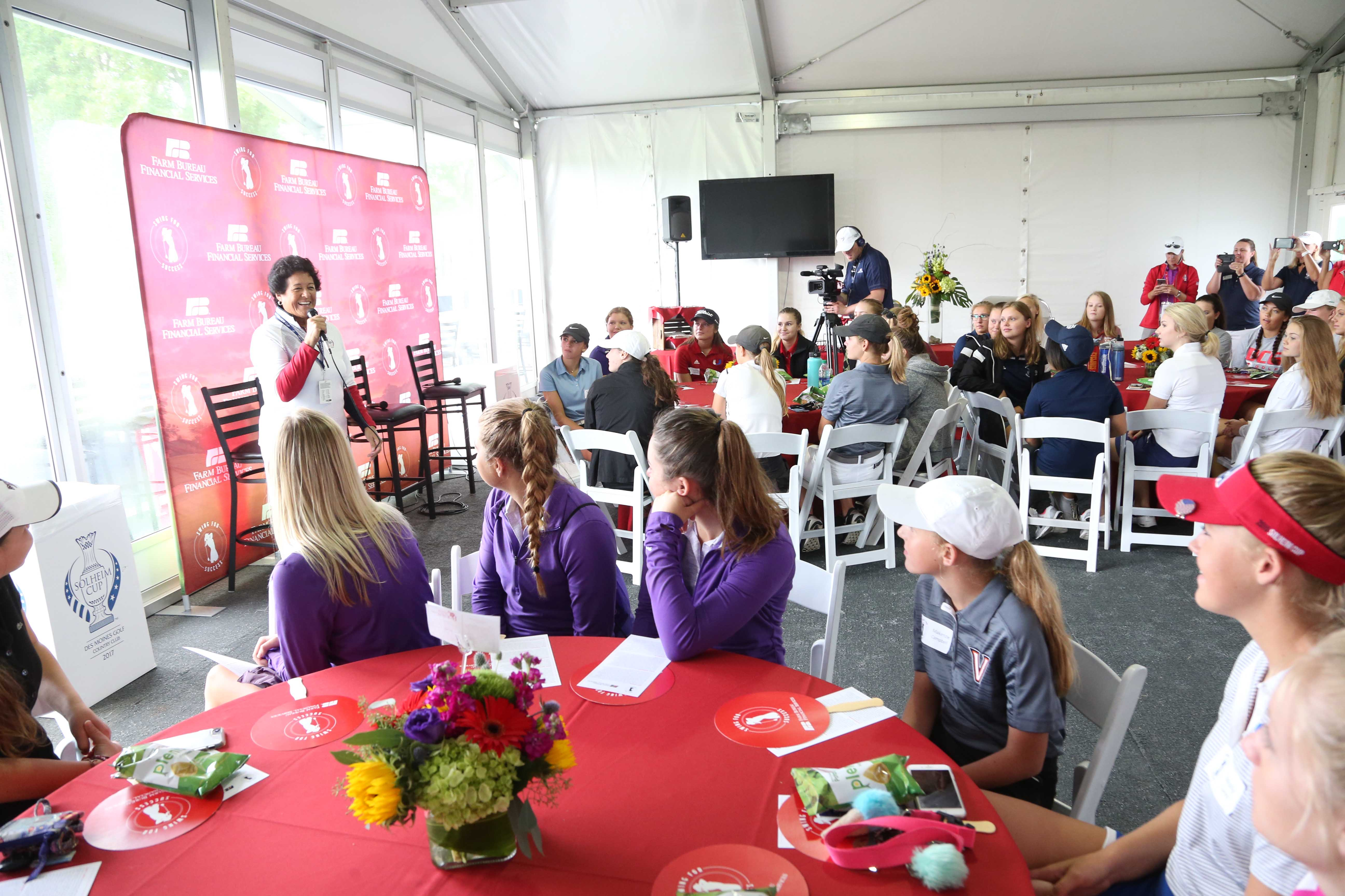 Nancy Lopez Addresses Group