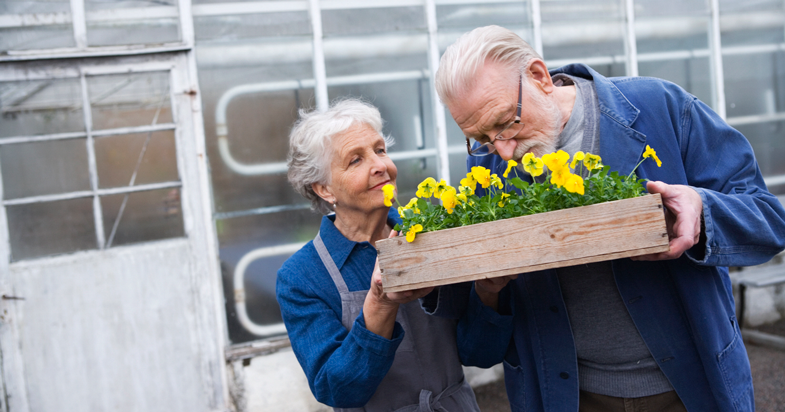 Retired couple holding crate of flowers